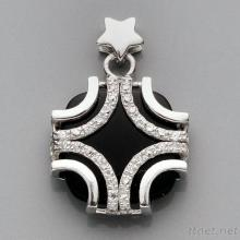 Star Silver CZ With Black Agate Pendant P1885